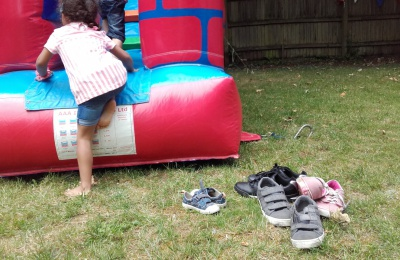 Children enjoyed the bouncy slide at the Diagrama Fostering and Adoption picnic