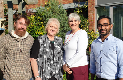 Diagrama chief executive David McGuire with Anne Kelly, director of Montessori Consulting, Michelle Dyne, Cabrini House manager and Muhammed Neeliyath, Edensor Care Centre manager