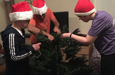Cabrini residents decorating Christmas tree