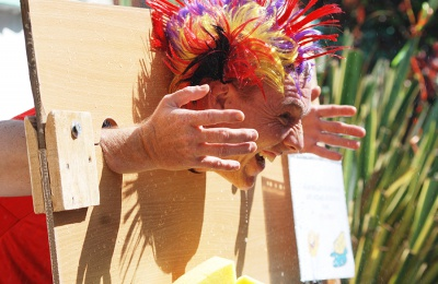 Staff and relatives took a sponging in the stocks at Edensor's summer fete