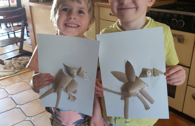 Finley and Elliott with their creations