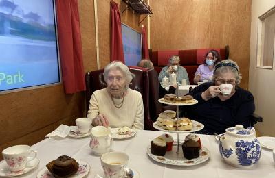 Residents enjoying the train