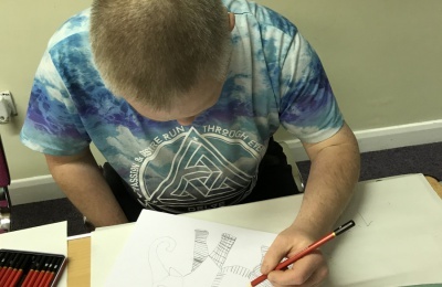 Diagrama Foundation: artists at Cabrini House in Orpington try their hand at Zentagle drawings